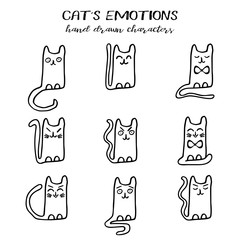 Cat s emotions collection in hand drawn cartoon technique and grunge style isolated on white. Vector illustration