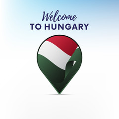 Flag of Hungary in shape of map pointer or marker. Welcome to Hungary. Vector illustration.