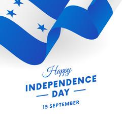 Honduras Independence Day. 15 September. Waving flag. Vector illustration.