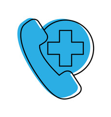 telephone service emergency hospital health care vector illustration