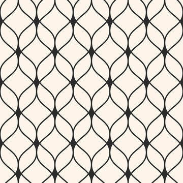 Vector seamless pattern in Arabian style. Abstract graphic monochrome background with thin wavy lines, delicate lattice. Texture of mesh, lace, weaving. Stylish luxury design element, repeat tiles