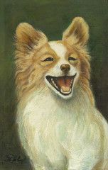 smile dog, portrait oil