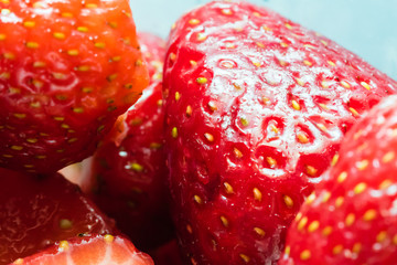 Detail of some sliced strawberries