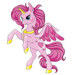 Fairy tale character horse. Cartoon unicorn. Pink unicorn with long mane. Vector isolated. Character is fabulous.