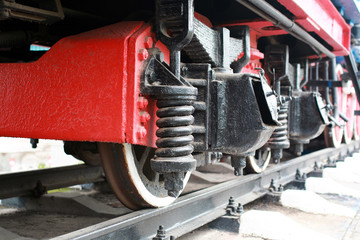 Details of the metal parts of vintage railway train