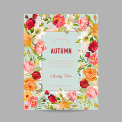 Autumn Photo Frame with Orchid and Lily Flowers. Seasonal Fall Design Card. Vector illustration