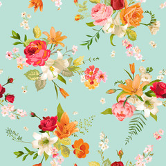 Lily and Orchid Flowers Seamless Background. Floral Pattern in Vector