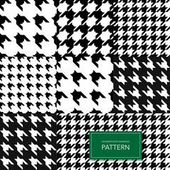 Seamless Black and White Houndstooth Vector Background. Retro Geometric Pattern for Clothing Fashion or Vintage Textile Texture.