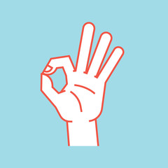Gesture. Okay sign. Stylized hand with index and thumb making circle, other fingers up. Icon.