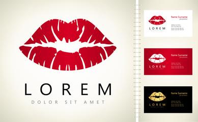 Lips logo. Female lips print.