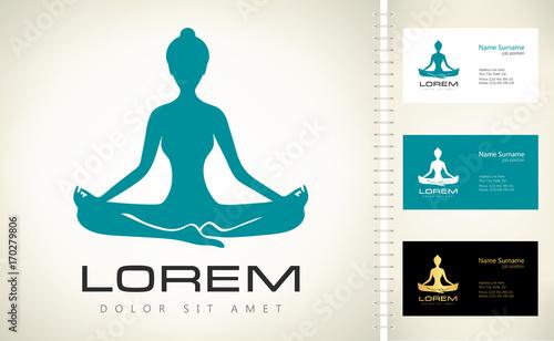 Meditation Woman Logo Yoga Pose Vector Lotus Yoga Pose Padmasana