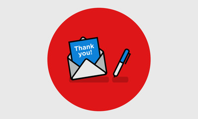 'Thank You' Written Inside An Envelope Letter (Line Icon in Flat Style Vector Illustration Design)