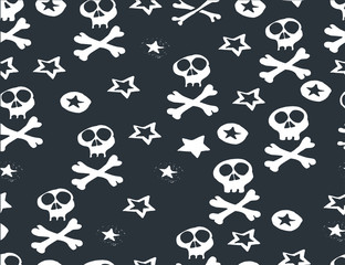 Halloween background. Scary monsters, bones, skulls and zombie.  Cute seamless pattern. Hand drawn illustration.