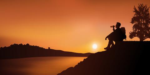 randonnée - randonneur - paysage - coucher de soleil - boire - assis