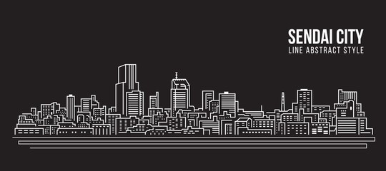 Cityscape Building Line art Vector Illustration design - Sendai city