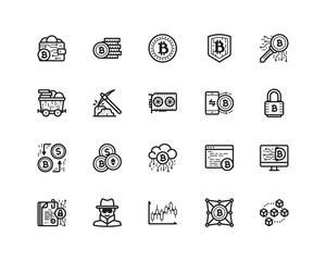 Bitcoin icon set, outline style
