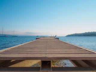 An empty quay in the Mediterranean Sea.