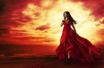 Woman Flying Red Dress, Fashion Model in Evening Gown Levitating Outdoors, Sunset