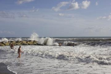 rough seas near the rock in Marina di Massa, Tuscany, Italy
