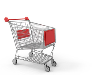 3d rendering. empty red label metal shopping cart on white background