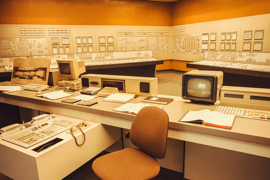 Interior with computer security system and control panel of Nuclear Power Plant