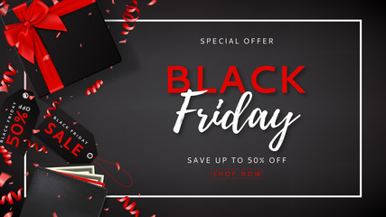 Black friday sale web banner. Vector illustration with serpentine and advertising tags for seasonal offer. Top view on black gift box with satin bow and wallet with money on dark backdrop.