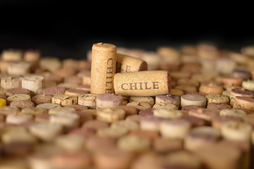 Countries winemakers. Chile's name on wine corks.