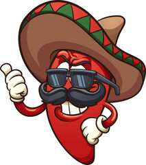 Cool Mexican chili pepper. Vector clip art illustration with simple gradients. Character and shades on separate layers.