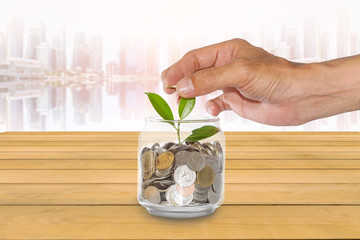 Man's hands are putting a coin into a glass jar with a small tree placed on a wooden table with a blurred city background, Concepts for business and finance.