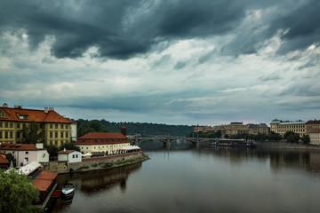 Franz Kafka museum and Vltava river in Prague, Czech Republic