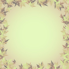 a frame of maple leaves on a pale gradient