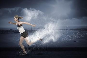 Composite image of female athlete running on white background