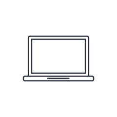 laptop computer, notebook thin line icon. Linear vector illustration. Pictogram isolated on white background