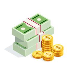 Isometric money isolated on white background.