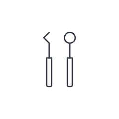dentist tools thin line icon. Linear vector illustration. Pictogram isolated on white background
