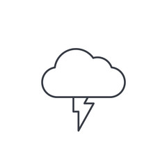 Lightning, thunderstorm cloud, weather thin line icon. Linear vector illustration. Pictogram isolated on white background