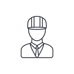 Engineer avatar, architect in helmet thin line icon. Linear vector illustration. Pictogram isolated on white background