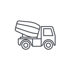 Concrete mixing truck thin line icon. Linear vector illustration. Pictogram isolated on white background