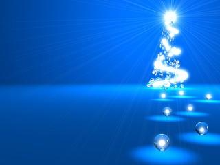 3D rendering of Christmas tree from luminous balls
