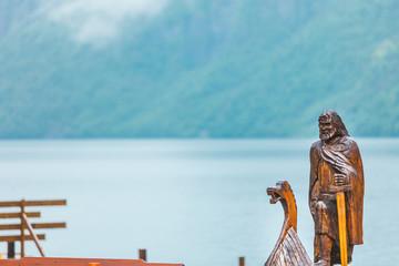 Old wooden viking boat in norwegian nature