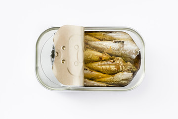 Sardines can preserve isolated on white background Top view