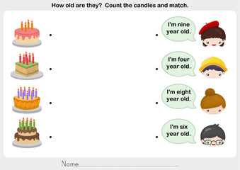 matching people and birthday cake - worksheet for education