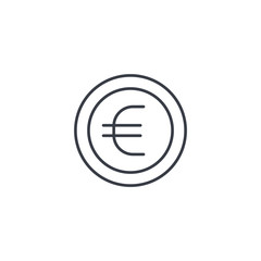 euro coin, currency thin line icon. Linear vector illustration. Pictogram isolated on white background