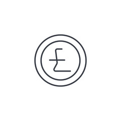 Pound Sterling currency coin thin line icon. Linear vector illustration. Pictogram isolated on white background