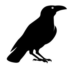 Silhouette big monster crow. Cartoon style. Concept design for halloween banner, greeting card or invites. Vector illustration