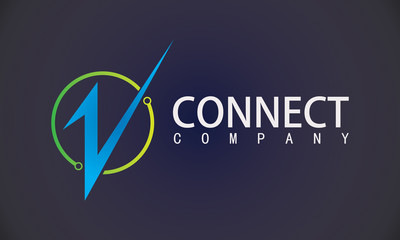 Letter V connect technology logo
