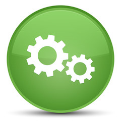 Process icon special soft green round button