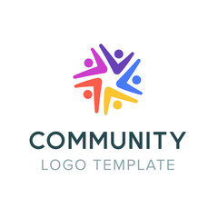 Community logo. Teamwork social logo. Partnership symbol. People communication symbol template