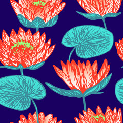 Lotus (water lily) flowers, hand drawn doodle, sketch in pop art style, seamless pattern design on blue background