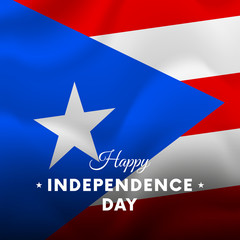 Banner or poster of Puerto Rico independence day celebration. Waving flag. Vector illustration.